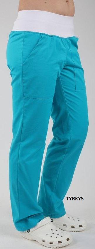 Kalhoty ZOJA - tyrkys barevné dámské kalhoty s úpletem v pase