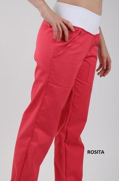 Kalhoty ZOJA - rosita barevné dámské kalhoty s úpletem v pase