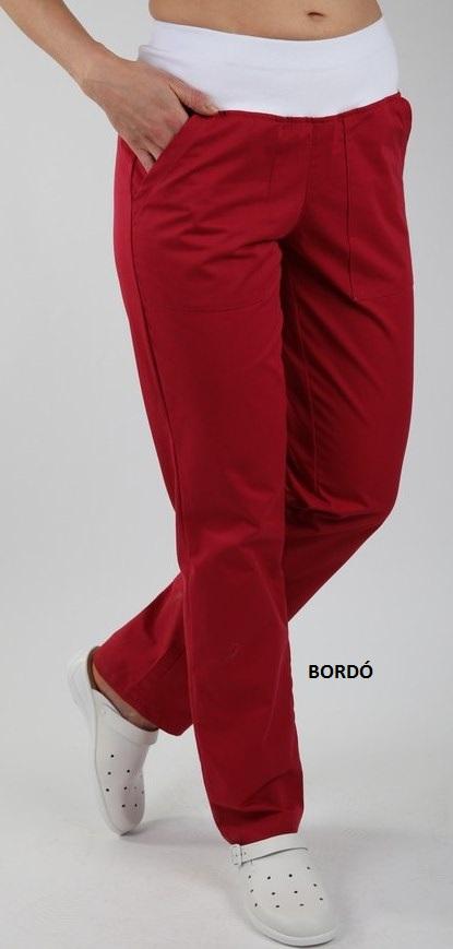 Kalhoty ZOJA - bordo barevné dámské kalhoty s úpletem v pase