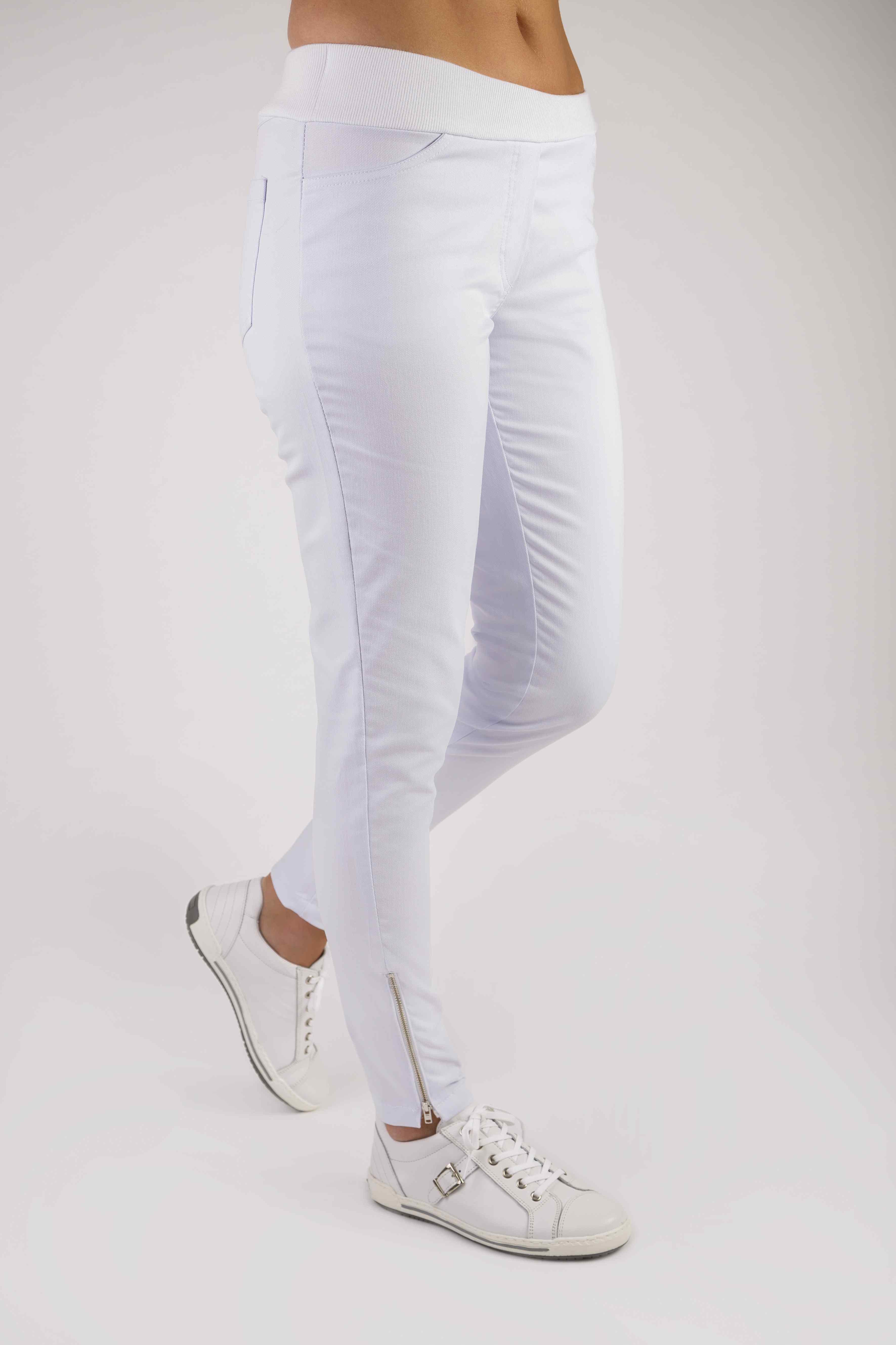 KIM dámské elastické kalhoty - bílé Dámské elastické kalhoty s úpletem