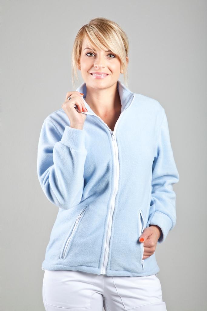 Fleecová mikina Bílá nebo sv. modrá fleecová mikina na zip
