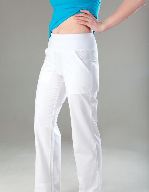 ZOJA dámské kalhoty - bílé dámské kalhoty s úpletem v pase
