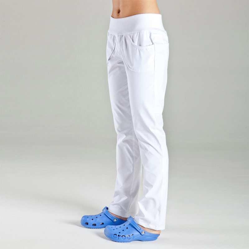 LAURA dámské kalhoty - bílé Dámské strečové kalhoty s úpletem, praní 95°C